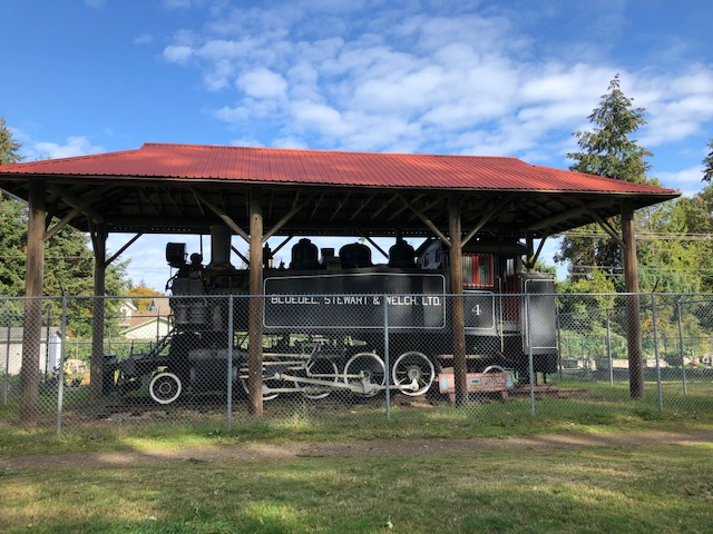 Locomotive displayed at Qualicum Beach Train Station